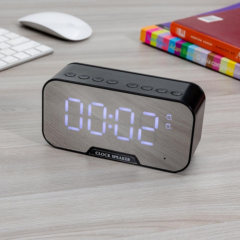 Caixa de Som Multimídia com Relógio e Suporte para Celular-03019